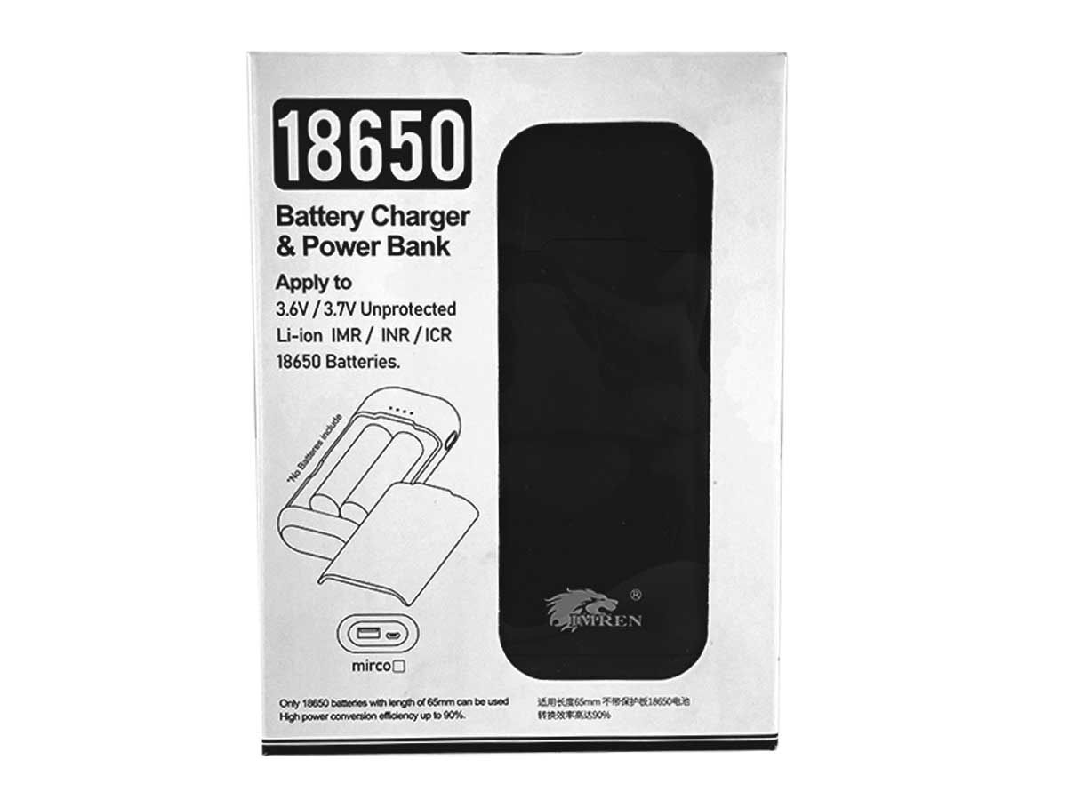 Imren BL2 Battery Charger and Power Bank for 2 x Flat Top 18650 Batteries