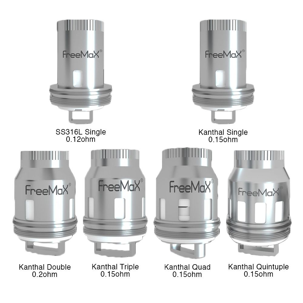 The Freemax Mesh Pro Coil is specially designed for the Freemax Mesh Pro Subohm Tank. It comes with six kinds of coils, the SS316L Single Mesh 0.12ohm coil, Kanthal Single Mesh 0.15ohm coil, Kanthal Double Mesh 0.2ohm coil, Kanthal Triple Mesh 0.15ohm coi