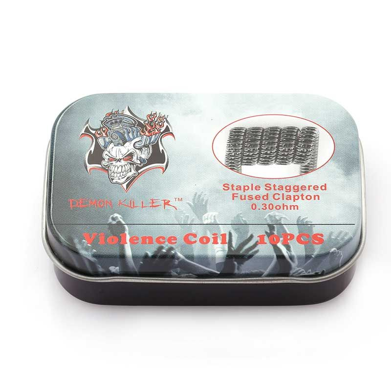 Demon Killer Prebuilt wire Staple Staggered Fused Clapton 0.3ohm 10pcs
